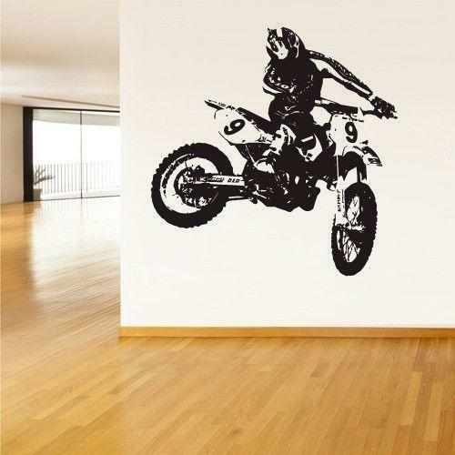 Motorcycle wall decals ebay for Dirt bike wall mural