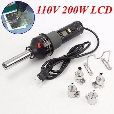 200w 110v Lcd Hot Air Gun Heat Gun Soldering Station Ics Smd For Bga Nozzle New