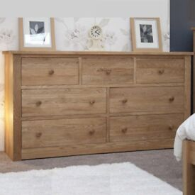 Solid Oak Wide Chest of Drawers with 7 Drawers NEW