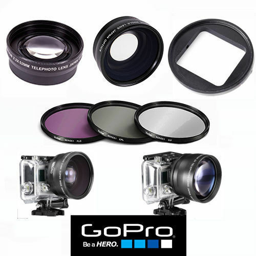 GOPRO HERO8 BLACK HD WIDE ANGLE LENS +MACRO LENS + TELEPHOTO LENS + FILTER KIT