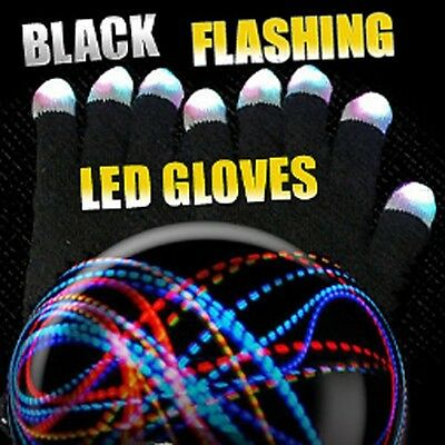 Black with White Tip LED Gloves Rave Lights - HALLOWEEN Flashing Light Up - Costumes With Led Lights