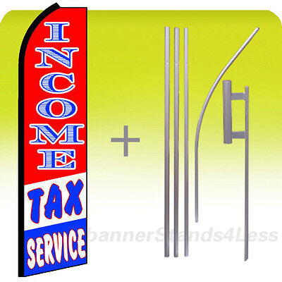 Income Tax Service - Feather Swooper Flutter Tall Banner Sign Flag 15 Kit Rq
