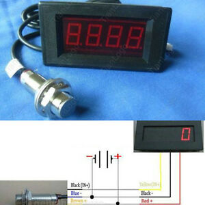 Digital-Red-LED-Tachometer-RPM-Speed-Meter-Hall-Proximity-Switch-Sensor-NPN