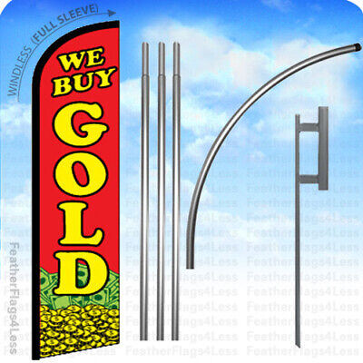 We Buy Gold - Windless Swooper Flag 15 Kit Feather Banner Sign - Rf