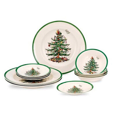 Spode Christmas Tree 12 Piece Set (4 x 27cm Plates, 16cm Plates, Cereals)