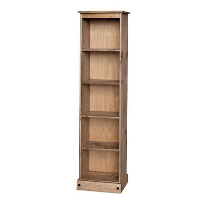 Premium Corona Solid Pine Tall Narrow Bookcase - Adjustable Shelves