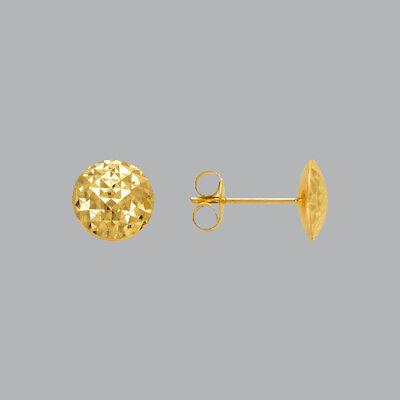 NEW 14K YELLOW GOLD LADIES GIRLS DIAMOND CUT EARRINGS CURVED BALL