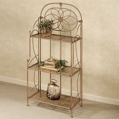 Lexington Wrought Iron Etagere Satin Gold Three Tier Three Tier Etagere