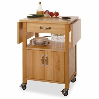 NEW Kitchen Island Solid Wood Utility Cart Rolling Storage Butcher Block Cabinet