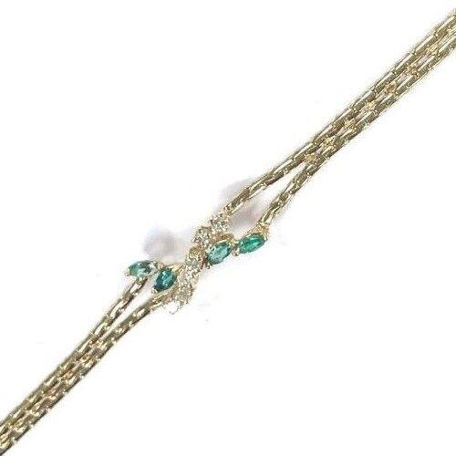 14 Karat Yellow Gold Pretty Diamond & Emerald Gemstone Cluster Bracelet B118