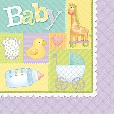 - Pastel Patchwork Baby Shower Napkins Duck Giraffe Onsie Bottle Stroller Design