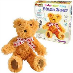 MAKE YOUR OWN COMPLETE  PLUSH 22cm CUDDLY TEDDY BEAR STUFFED SOFT TOY CRAFT KIT