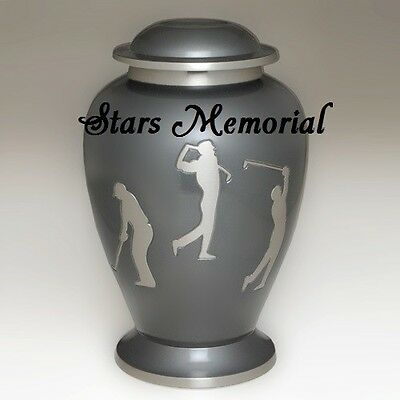 (Beautiful Etched Golf Memorial Cremation Urn- Brass,Sports Urn, Great Deal!)