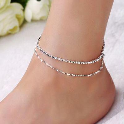 Sexy Fußkettchen  silber pl. Zirkonia Fußkette Knöchelkettchen Armband Armkette