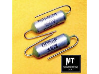 🎸CALLING ALL GUITARISTS Two 0.05uF WAXED PAPER guitar/bass tone CAPACITORS caps 50nF Paper in Wax