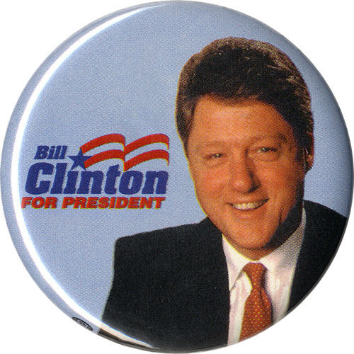 1992 Bill Clinton FOR PRESIDENT Campaign Button ~ Official Primary Logo (1531)