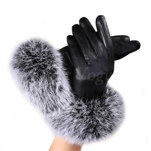 Women Touch Screen Black Leather Gloves Autumn Winter Warm Rabbit Fur Mittens