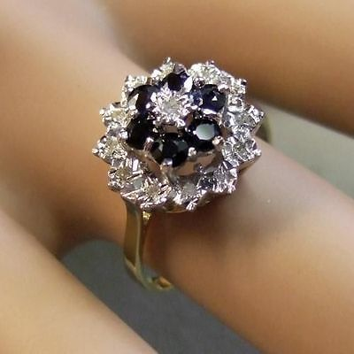 9 ct gold second hand diamond & sapphire cluster ring