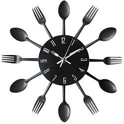 Kitchen Wall Clock Modern Creative Kitchen Spoon Fork Home Decoration - Black