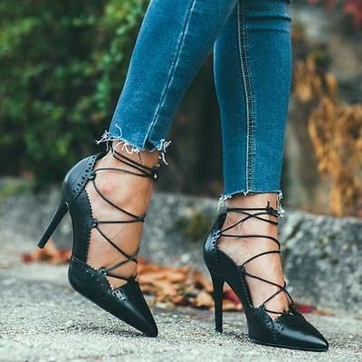 Kyпить ZARA Black Leather Perforated Lace Up Front High Heel Court Shoes 6 39 BNWT на еВаy.соm