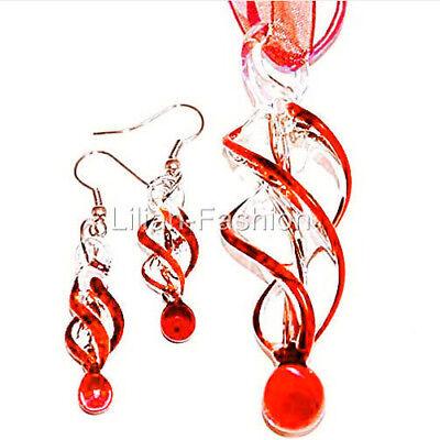 Red Swirl Handmade Lampwork Murano Glass Pendant Ribbon Necklace Earrings Set