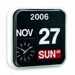 Calendar Clock Auto Flip Wall Desk Retro Modern Black White Large Numbers 12.5