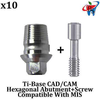 10x Dental Implant Cadcam Connection Ti-base Abutment Int Hex Mis Compatible
