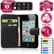 iPhone 4 Leather Flip Case Black