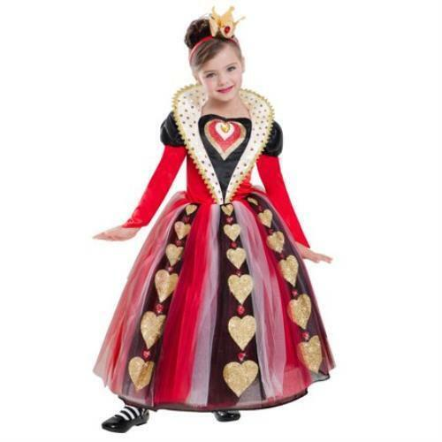 Queen of Hearts Girls Halloween Costume Dress Up Small 4-6 Trick or Treat New