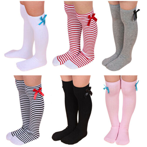Toddlers Kids Cat Ear Knee High Socks Cotton Hosiery Xmas Stocking Grey 2-4Y