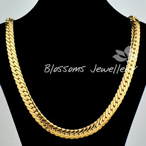 SOLID 9K 9CT Yellow GOLD GF Open LINK Wide CHAIN NECKLACE 24