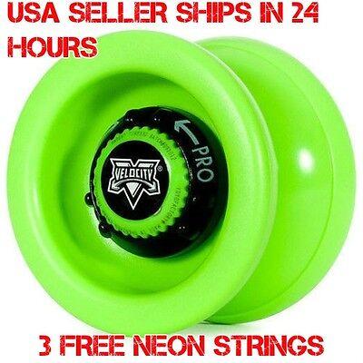 Green Velocity Yo Yo From The YoYo Factory Plus 3 Extra Neon Strings YEL/ORG/GRN