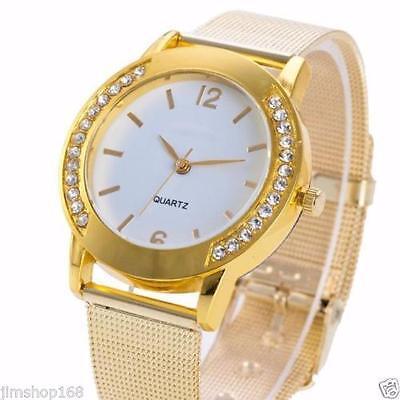 Fashion Ladies Crystal Golden Stainless Steel Quartz Analogue Wrist Watch