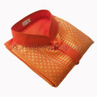 Silk Blend Orange Dress Shirts for Men