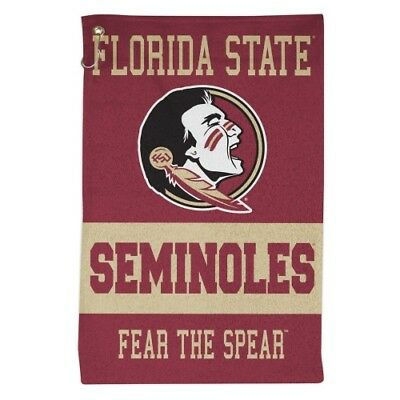 "FLORIDA STATE SEMINOLES ALL PURPOSE GOLF TAILGATE TOWEL 16""X25"" HOOK & GROMMET"