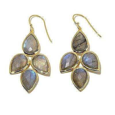 ARGENTO VIVO GALERIE PEAR SHAPE LABRADORITE VERMEIL CHANDELIER DROP EARRINGS HSN