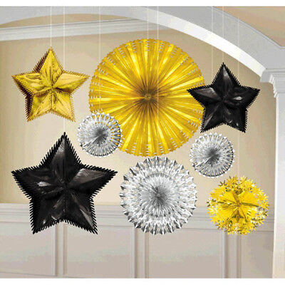 GOLD SILVER and BLACK STARBURST DECORATING KIT (8pc) ~ Birthday Party Supplies