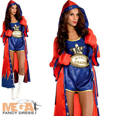 Boxer Ladies Fancy Dress Sports Champion Occupation Womens Adults Costume Outfit (Occupation Fancy Dress)