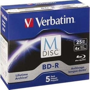 Verbatim M-Disc BD-R 25GB 4X with Branded Surface - 5pk Jewel Case Box - 120mm - TAA Compliance