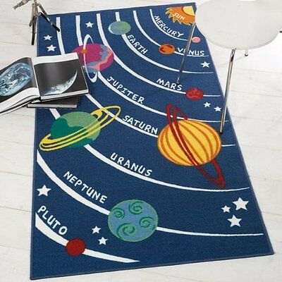 Funky Blue Planets Rockets Space rugs, 80x120cm, 100x190cm. Anti Slip backing