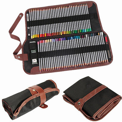 72 Hole Canvas Wrap Roll Up Pencil Case Pen Cosmetic Bag Holder Storage Pouch