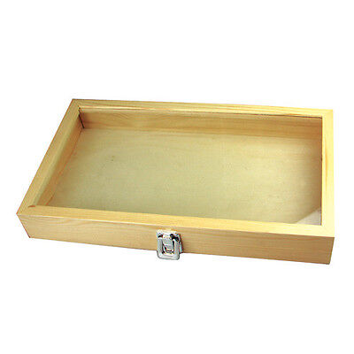 New Natural Wood Jewelry Showcase Travel Display Tray Full Size Glass Top