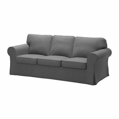 Parts Of Ikea Ektorp Three  3  Seat Sofa Slipcover Cover Nordvalla Dark Gray