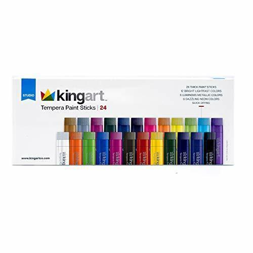 KingArt STUDIO (Set Of 24) Tempera Paint Sticks, Unique Colors 24 Piece