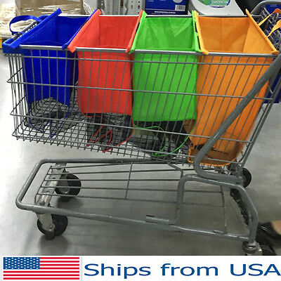 Reusable Shopping Bags Eco Foldable Trolley Tote Grocery Cart Storage - Set of 4