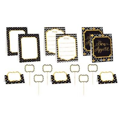 Black And Silver Party Supplies (BLACK, SILVER & GOLD CHEVRON BUFFET DECORATING KIT (12pc) ~ Adult Party)