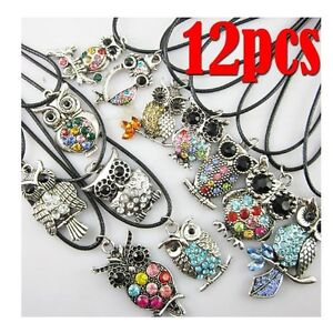 12pcs Lots Wholesale Rare Jewelry Owl Pendant Necklace Retro Silver Mixed Style