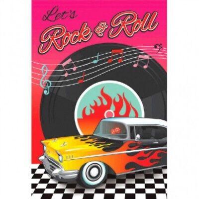 50s Party Invitations (50's 1950 Postcard Invitations Envelopes Rock & Roll Birthday Party Invites)
