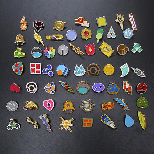 Anime Pocket Monster Pokemon: Kanto Gym Badges Set of 58 Metal Pins Cute