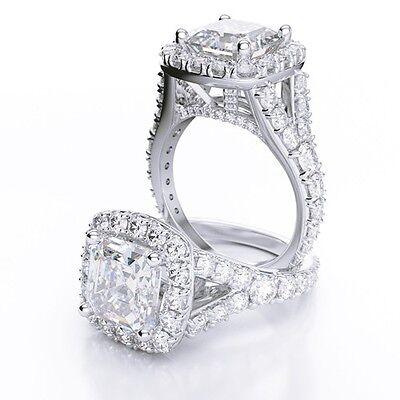 3.20 Ct Asscher Cut Split Shank Halo Diamond 18K Engagement Ring G,VS1 GIA